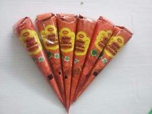 12 Pcs (1 Box.) Quick Dry Instant Golecha Orange Dark Henna Mehandi Cone Body Art