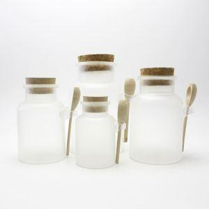 Plastic empty 100ml 200ml 300ml 500ml massage cream jar with spoon MBSJ-016C