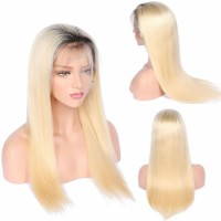 In stock color T1B-613 lace front wigs 130% density Platinum ombre blonde human hair wigs silky straight baby hair