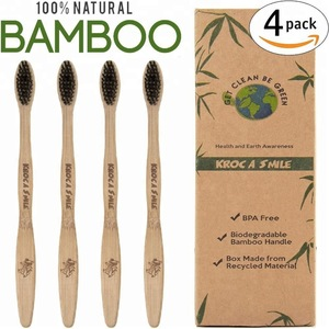 OEM Welcome Wholesale Organic Natural Bamboo Toothbrush with FDA Certificate  BPA Free Bristles, Pack of 4 FBA Shipping