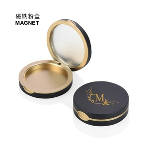 Wholesale Luxury 59mm Matte Black Round Magnetic Compact Powder Case with Mirror