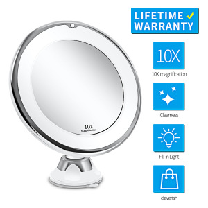 2021 Top Seller Girls 10X LED Illuminated Makeup Hanging Vanity Mirror with Lights Travel Magnifying Portable Led Makeup Mirror