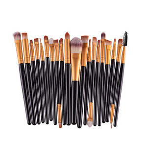 hot selling short handle  20 piece makeup eyeshadow brush eye makeup applicator and makeup sponges