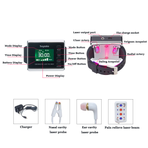 Red and Blue Laser Therapy Suyzeko Semiconductor Laser Acupuncture Lllt Laser Watch Nasal