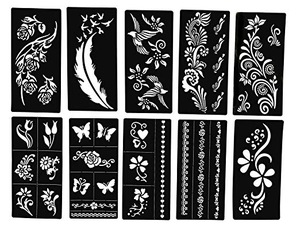 Stencils for Henna Tattoos (10 Sheets) Self-Adhesive Beautiful Body Art Temporary Tattoo Templates, Henna, Flower,
