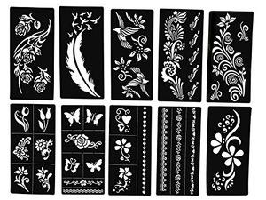 Stencils For Henna Tattoos 10 Sheets Self Adhesive Beautiful Body Art Temporary Tattoo Templates Henna Flower Chawla Products Beautetrade