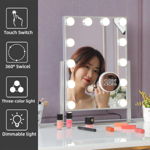 Tabletop Power Supply Dimmable 12 LED Bulbs Hollywood Vanity Makeup Mirror With Lights
