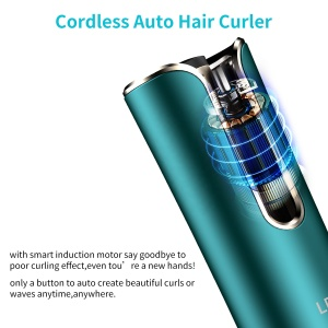 2021 Mini Usb Rechargeable Auto Cordless Rotating Hair Curling Iron Wireless Electric Automatic Hair Curler