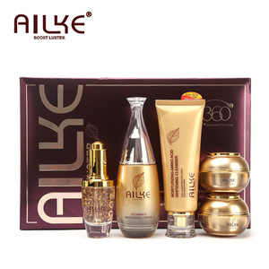 AILKE 24K Collagen Night and Day Cream Beauty Facial Cleanser Toner and Serum 5 Sets Cosmetics skin care products