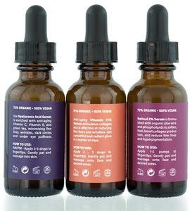 Anti Aging Skin Care Set Pure Retinol serum 2.5% Hyaluronic, Retinol, Vit C Serums - 3 X 1 Ounce