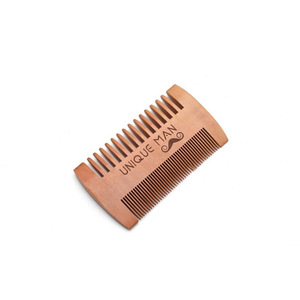Hot sale fine coarse teeth anti static custom small wooden beard comb mustaches mens pocket comb
