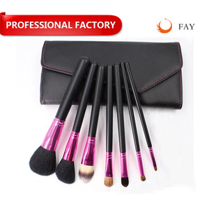 hot seller soft goat hair 7pcs makeup brushes cosmetic tool kits with black pouch