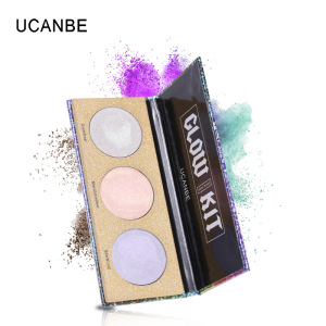 Latest Product 2019 Private Label Cosmetics Wholesale 3 colors Sequins Pearl Highly Pigmented Eyeshadow  Palette