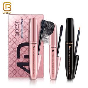 QIBEST Unique Romantic Waterproof Silk 4D Fiber Eyelash Extensions Eye Lash Coating Mascara With Lashes