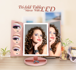 Hot Selling Touch Screen 360 degree  Rotating  Lights  Led vanity Makeup Mirror with storage box
