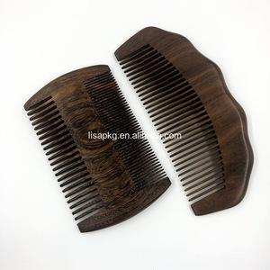 Oem Wholesale Natural Wooden Mens Antistatic Beard Hair Comb