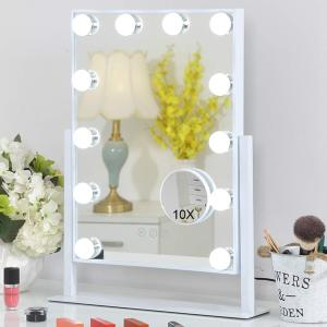 2021 Newest Hollywood Makeup Vanity Mirror Tabletops Lighted Cosmetic Mirror with 3 COLORS LED Light adjustable Bulbs