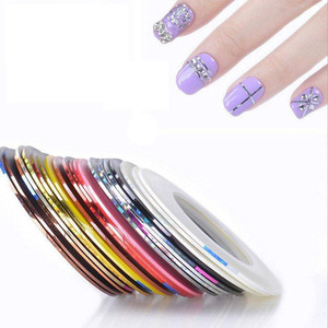30PCS mixed color custom Nail Art Rolls Striping Tape Line Tips DIY nail art Sticker
