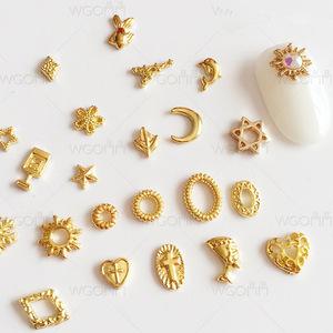 3D Gold Charm Nail Decorations Glitter Alloy Jewelry Rhinestones DIY Nail Art