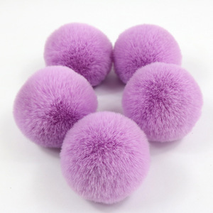 cute plush hair rex rabbit fur ball animal fur pom pom with elastic hair band