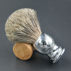 For Safety Razor Barber Neck Brush Handmade Deluxe 100% Pure Badger Silvertip Shaving Brush with metal stainless steel Handle