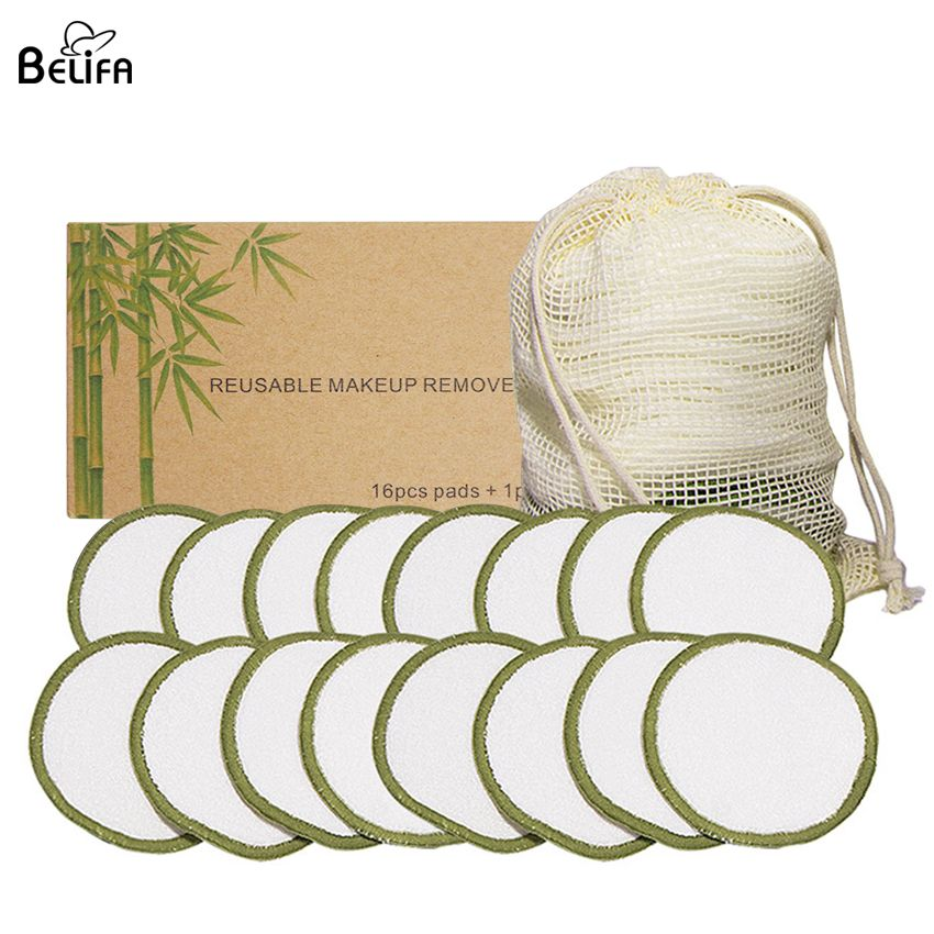 Wholesale custom eco friendly eye face cleansing round organic washable super soft reusable bamboo cotton makeup remover pads
