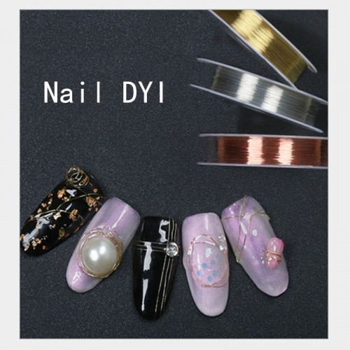 Fashion 3D Nail Artist Professional Rose Gold Wire Metal Wire DIY decoration Nails Art Tool Set With Pliers Tweezers