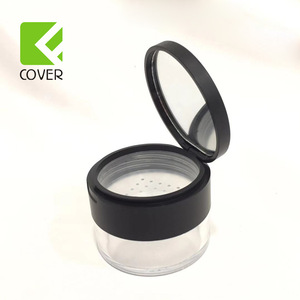 Simple transparent clear round custom plastic cosmetic loose powder jar loose powder case