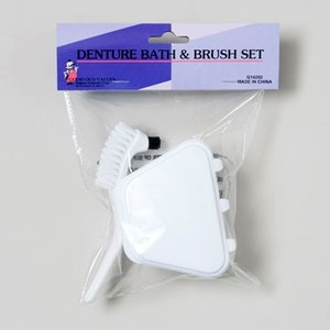 DENTURE BATH & BRUSH SET WHITE HBA POLYBAG/HEADER #G14292