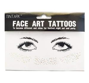 Face Tattoo Sticker Metallic Shiny Temporary Water Transfer Tattoo Face Sticker