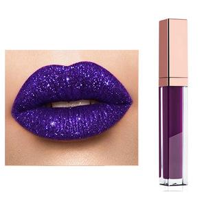 OEM Private Label Makeup Waterproof Shimmer Lip Gloss Glitter Purple Lip Liquid Lipstick