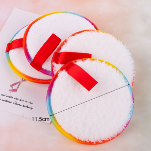 Rainbow Customized Brand Eco Friendly Microfiber Reusable Make Up Makeup Remover Pads With Custom Tag Logo