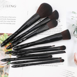 private label black hollow handle makeup brush with cup leather holder
