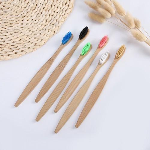 Biodegradable  Bristles Custom Private Label Adult Natural Bamboo Toothbrush