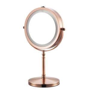 6.5Desktop retractable double-side magnifying LED makeup mirror