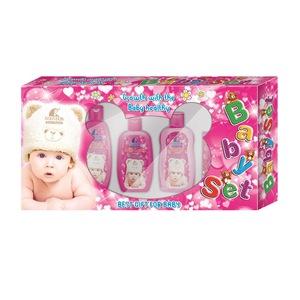 ROUSHUN Yellow/Pink Baby Set with Shampoo/Powder/Oil/Lotion