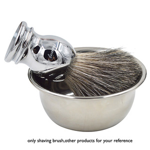 For Safety Razor Barber Neck Brush Handmade Deluxe 100% Pure Badger Silvertip Shaving Brush with metal stainless steel Handle