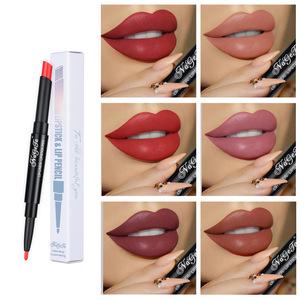 12 Color Double-end Lip Makeup Lipstick Pencil Waterproof Long Lasting Tint Sexy Red Lip Stick Beauty Matte Liner Pen Lipstick
