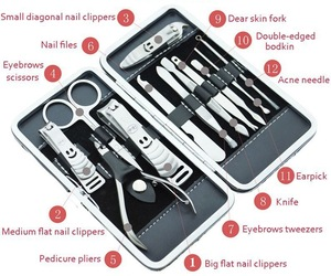 12 Pieces Hot Sale Manicure Nail Pedicure Cutter Set Tool With Box