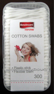 "300 PCS 7.75CM/3"" PLASTIC STICK COTTON SWABS"