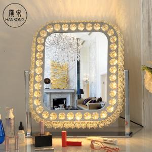 Square Crystal diamond LED makeup mirror desktop hollywood vanity mirror smart sensor switch illuminated cosmetic mirror