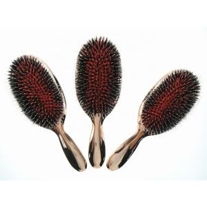 Wholesale  Electroplating Gold Finish Boar Bristle Hair Brush Paddle Hair Brush