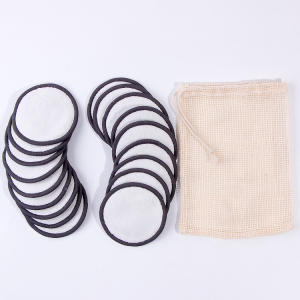 20pcs / Set White Bamboo Terry Make Up Remover Pads Black Border with Cotton Wash Bag / 80%bamboo+20%polyester