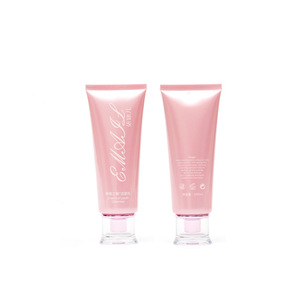 60ml pink glossy Cosmetic Squeeze tubes with plastic crystal cap