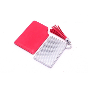 Custom Private label Lovely Square Pu cosmetic mirror Portable makeup mirror with Tassels Case