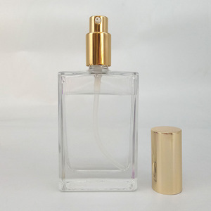 New flat square clear airless pump bottle with gold screw cap for perfume spray glass bottle 30ml 50ml