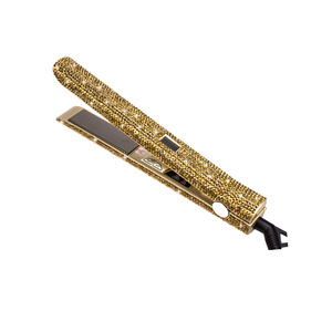 Colorful flat iron bling bling diamond crystal luxury gold hair straightener with bling