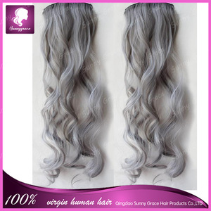 Grade 8A Brazilian virgin human hair silver grey hair extensions with clips