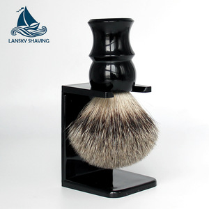 Private label Badger Hair Shaving Brush with drip stand, plastic drip stands shaving