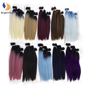 Cheap price yaki synthetic hair 7PCS human hair mixed hair extensions heat resistant